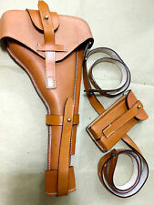 "Latest Luger P-08 8"" Artillery Holster w. Stock Strap & Magazine Pouch - BROWN"