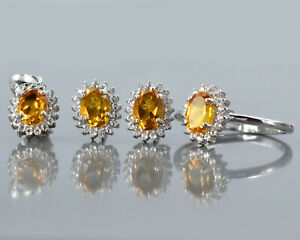 Citrine Natural Gemstone 925 Solid Silver Ring Earring Pendant Women Jewelry Set