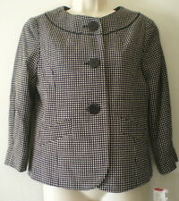 HARVE BENARD Tweed JACKET S Black White SMALL NEW $72 NWT