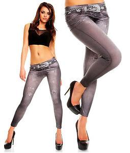 Womens Stretchy Denim Look Skinny Slim Jeggings Leggings Size 6 8 10