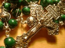 Wire Wrapped MALACHITE BEADS STERLING SILVER Catholic ROSARY  Crucifix NECKLACE