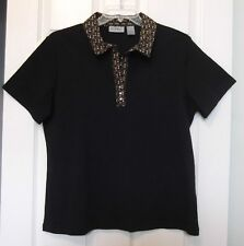 Coral Bay Size L Black Knit Top w/Cocktail Drink Shirt Trim, short sleeves
