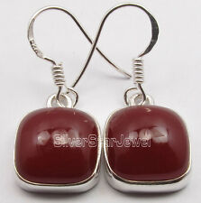 925 Sterling Silver CABOCHON Red CARNELIAN EXOTIC Cushion Earrings 1 1/8""