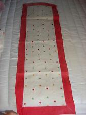 """Antique Linen Embroidered Runner Doily Polka Dot, Red Border 42""""x14"""""""