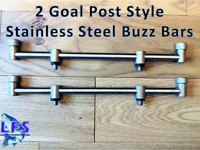 2 x Stainless Steel Fishing Goal Post Buzz Bars 30CM 2 Rod Post Fixed Buzz Bars
