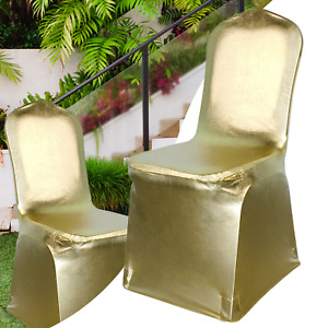 Dining Chair Seat Covers Spandex Slip Banquet Home Protective Covers Shiny Gold