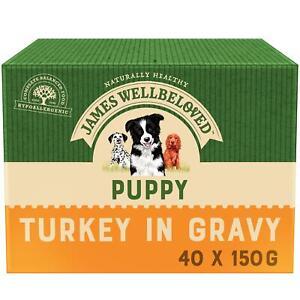 40 x 150g James Wellbeloved Puppy Wet Dog Food Pouches Turkey & Rice In Gravy