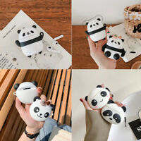 For Apple AirPods 3D Cartoon Panda Earphone Charging Case Protective Cover Clip