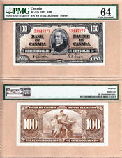 1937 $100 Bank of Canada PMG CHOICE UNC64 EPQ, Gordon & Towers. BC-27b