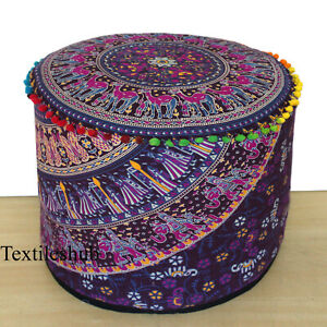 """New 18"""" Indian Mandala Round Ottoman Seating Footstool Handmade  Pouf Cover Case"""