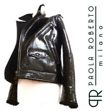 PAOLA ROBERTO MILANO Black Patent Leather Shearling Biker Jacket