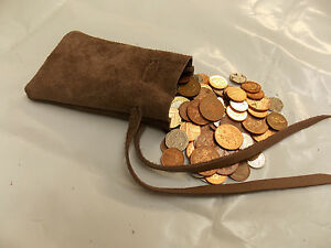 Medieval Larp SCA Reenactment Mink Brown Leather DRAWSTRING MONEY POUCH BAG
