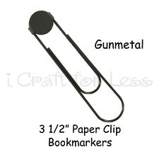 50 GUNMETAL Jumbo / Large Paper Clip Book Markers with 16mm Pad - 3 1/2 Inch