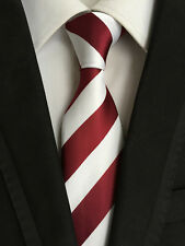 Classic Mens Necktie Silk Wine Red White Striped Ties Wedding Business XT-066