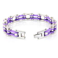 10mm 8.66'' Silver Purple motorcycle chain Bracelet Stainless Steel Bangle Women