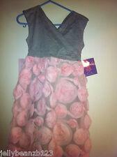 £62.99 Joe Ella age 5 6 dress girls fanny flower jersey gray PINK WEDDING PARTY