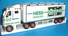 2003 HESS Toy Truck Hauler and 2 Race Cars Used and Rubber Tires and Lights