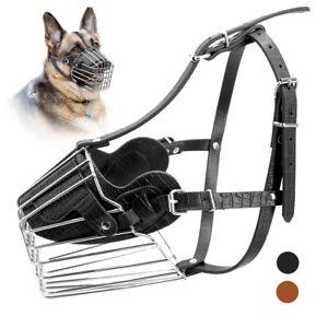 Dog Muzzle Pitbull Metal Wire Basket Adjustable Leather Straps No Bark Bite S-L