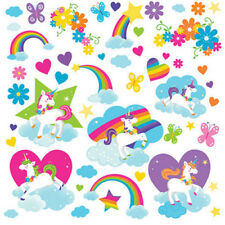 FAIRYTALE UNICORNS wall stickers 50 decals room decor rainbows heart cloud stars