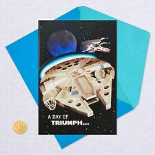 Hallmark Birthday Card ~ Star Wars Musical Light Up Millenium Falcon Deathstar