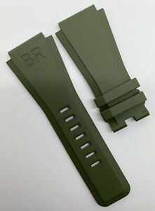 Authentic New Bell & Ross 24mm x 24mm Green Rubber Watch Strap Band BR01 OEM