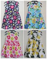 Girls Floral & Lemon Printed Sleeveless A-Line Cotton Summer Dresses  2-8 yrs