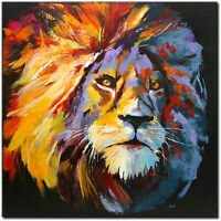 NOVAARTE Abstrakte Malerei Kunst Acryl Bild Gemälde ORIGINAL Modern Löwe UNIKAT