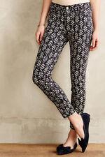 PILCRO Anthropologie Serif Sateen Skinny Jeans Ankle Zip Pant Blue Print 27 x 28