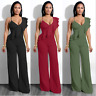 Sexy Women's Side Shoulder Ruffle Evening Cocktail Dress Party Clubwear Jumpsuit