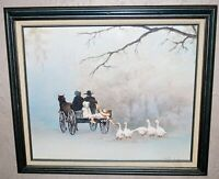 "Steve Polomchak Watercolor Painting Signed & Framed 25"" x 29"" Amish Going Home"