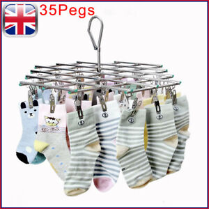 35 Peg Stainless Metal Sock Underwear Clothes Outdoor Dryer Laundry Hanger