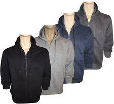 New Men's Plain Fleece Hoodie Polycotton Full Zip Hooded Sweatshirt Jumper Tops