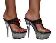 "Rude Flashing Lights Black & Red Satin 6"" Stiletto Heel Mules UK 3 4 5 6 7 8"