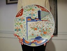 "Very Rare Large Japanese Meiji 19th Century Polychrom Imari Plate 16"" Signed"
