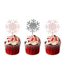Christmas Snowflake Cupcake Toppers - Pack of 8 - Glittery White and Silver