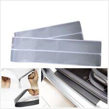 4x Carbon Fiber Silver Car Door Sill Scuff Cover Welcome Pedal Protect Sticker