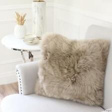 "TAUPE BEIGE MERINO SHEEPSKIN SHAGGY FUR PILLOW CUSHION 40cm 16"" AUSTRALIAN WOOL"