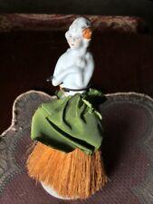 Antique Porcelain Half Doll Whisk Broom Vanity Lady Figure Grey Hair with Flower