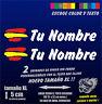 X2 PEGATINAS PERSONALIZABLES BANDERA DE ESPAÑA Y NOMBRE TAMAÑO XL - COCHE MOTO