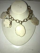 "WOMENS SAKS FIFTH AVENUE ""BEIGE,OFF-WHITE DESIGNED STONE"" COSTUME NECKLACE"