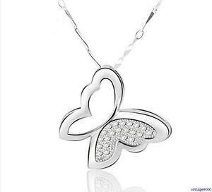 Damen Schmetterling Anhänger Halskette Flügel 925 Silber Plattiert Zirkonia 109