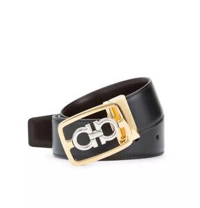 Authentic Salvatore Ferragamo Encased Gancini Leather Black/Brown Size 34 36 NWT