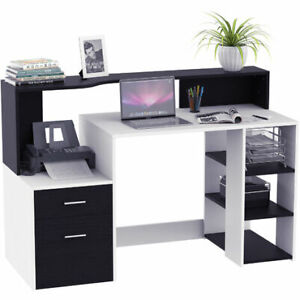 Wooden Computer Desk PC MODERN HOMCOM OFFICE w/ Storage Shelves ONE UNIT