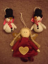 Hand Crafted Christmas Tree Decorations Baubles Ornaments Felt Snowman Angel New