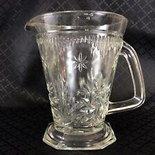 Large Art Deco Glass Jug Pitcher 1930s 40s  Clear Pressed Lemonade