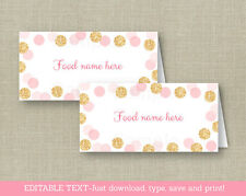 Blush Pink & Gold Glitter Dots Buffet Tent Cards & Place Cards Editable PDF