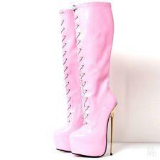 Sexy Womens Shoe Knee High Boots Platform Super Metal High Heel Zipper SM Shoes
