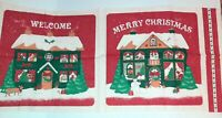 Vintage Ameritex Fabric Applique Country Classics Christmas Village Pillow Panel
