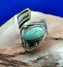 Vintage 18.1g Sterling Silver 15.31mm Turquoise Wrap-Around Spoon Ring Size 7