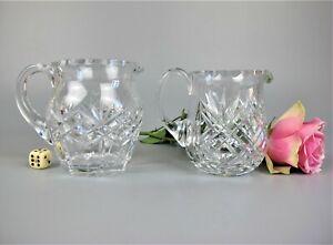 2 x superb vintage cut crystal glass Milk Jugs / Creamers. 300ml 250ml